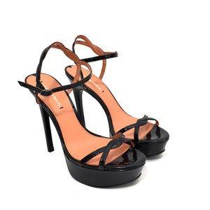 Via Spiga Black Patent Leather Platform Heels
